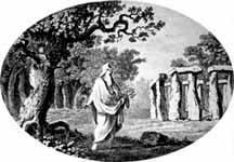 Old lithograph of Druid from Aubery's publication