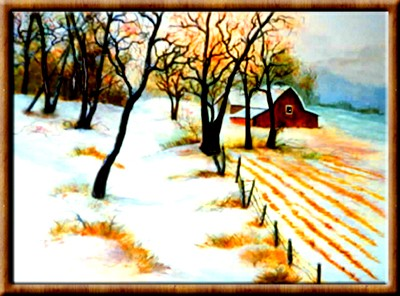 A Snowy Farm Field after the harvest