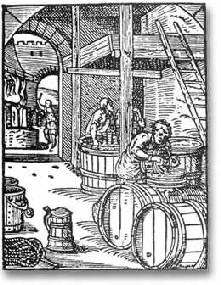 A woodcut of a brewery