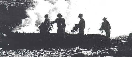 Kelp burning on the beaches of the Island of Uist in Scotland around 1904