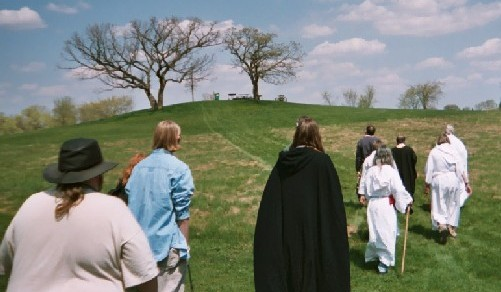 Druids progressing from Monument Hill to the Hill of Three Oaks.  Both sites were the primary locations of the original services in 1963.  Participants shown: Wilke, ?, Crimmins, Weinberger, Shelton, Frangquist, Carruth, Nelson