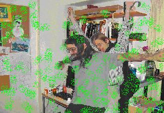 Sean leaps in front of Matt while green powder fills the room.