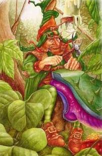Leprechaun making shoes, leprechaun is derived from leatha bhrogan, or man who makes shoes