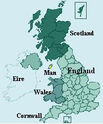 The Duchy of the Isle of Man and its surrounding nations.  Known for it's off-shore banking, motorcycle race, and retired military veterans, as well as tail-less kittens and oodles of viking remnants when this was thier HQ for raiding nearby shores.