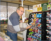 A mysterious shopper at one of the two large grocery stores in Northfield.  Despite full room & board, students make the 1.5 mile hike across town to get their fix of goodies in 'food runs' with their friends, especially during school breaks when their dining options decline.