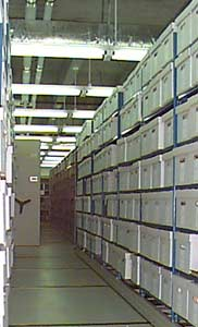 Archival shelves stretching long into the distance.  In reality, the Carleton archives are not really that big, but we've embellished on them for the purpose of the story.