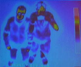 What Matt and Sean would look like under the thermal scanner without their repellent cloak.
