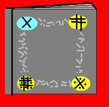 Graphic by Mike, showing the cover of the book 'borrowed' from the oles.  Note the four colored jewels and the symbols engraved upon each.  Between each jewel is a line of text in a mysterious alphabet.