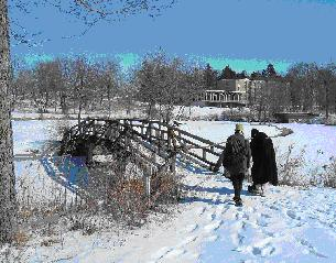The graceful bridges to the islands at Carleton's lower Lyman lake were hand built in the 1950s