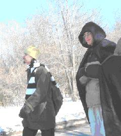 Sean and Matt walking about on the wintry beauty of the campus