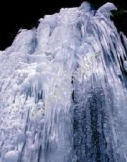 The frozen waterfall at the base of Lyman Lakes