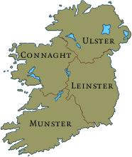 the four historical provinces of Ireland, sometimes with Meath, a fifth province in the middle.